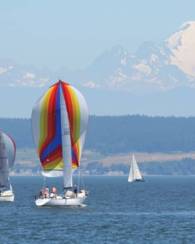 Mt. Baker in background and sailboats during Whidbey Is. Race Week 2008
