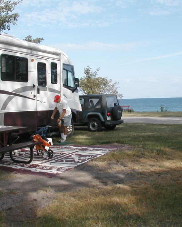Campsite at city park in Grand Marais, Michigan