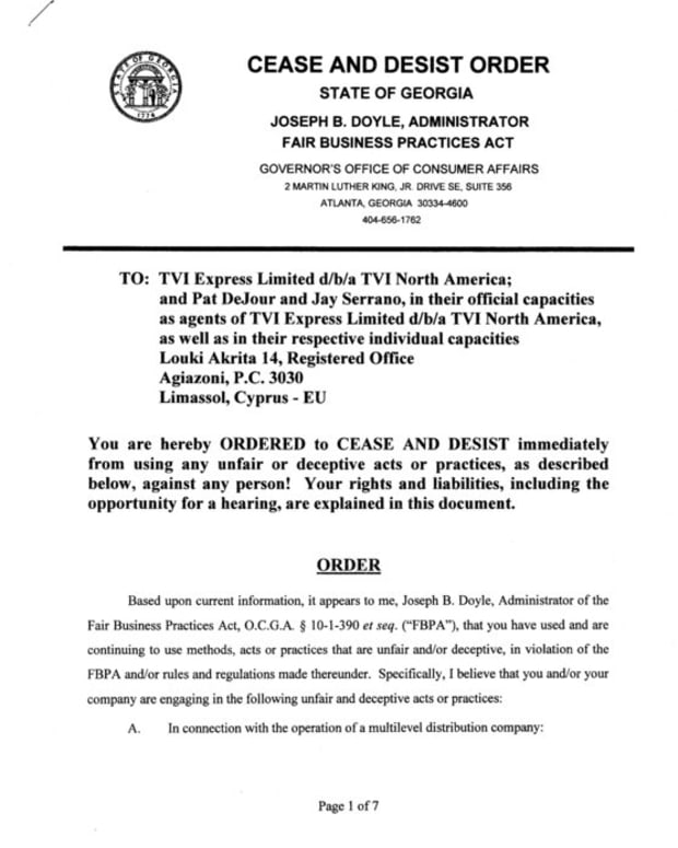 从格鲁吉亚州反对TVI Express的实际停止和停止订单