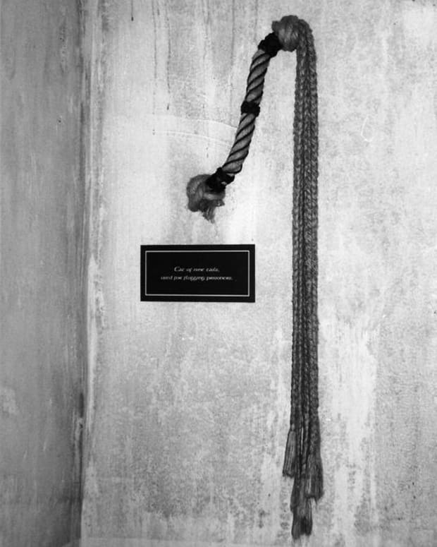 A whip on display at Wicklow Prison Museum