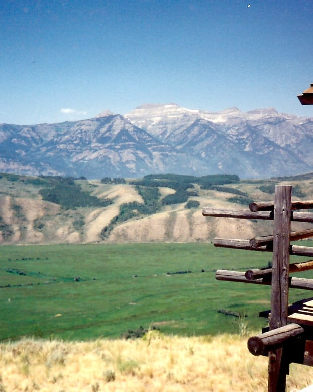 The Teton Mountains viewed from our cabin at Spring Creek Ranch on top of East Gros Ventre * Photo by Peggy W