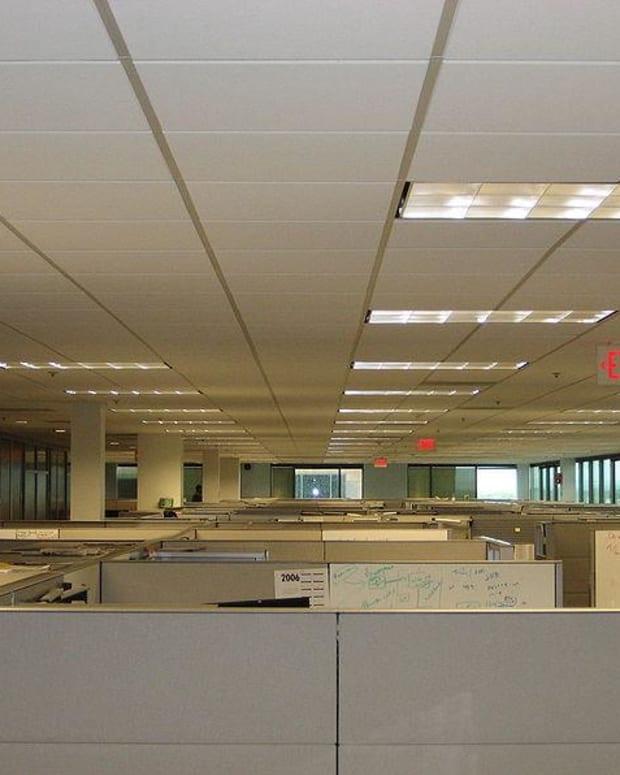 Typical office lighting arrangement.