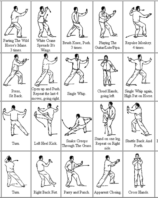 This chart shows the 24 basic movements of Tai Chi.