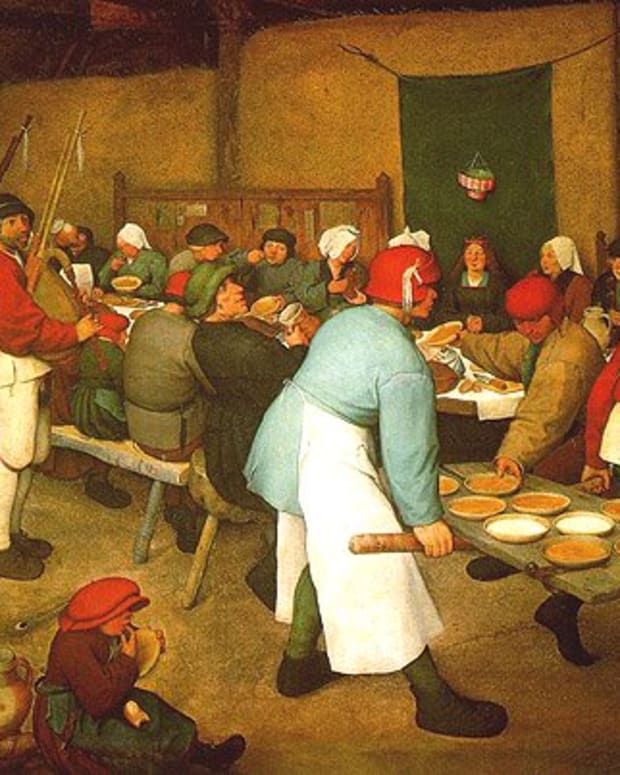 Pieter Breugal the Elder painted this peasant wedding feast, complete with unlimited porridge pies-- and bagpipes, in 1567.