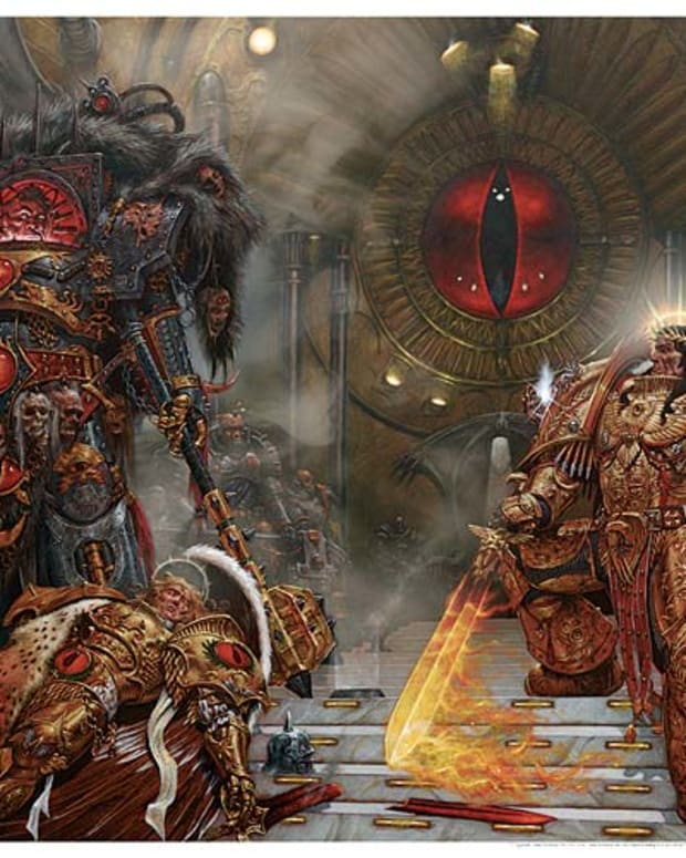 The Emperor (Right) vs Horus (Left), the finale of the Horus Heresy