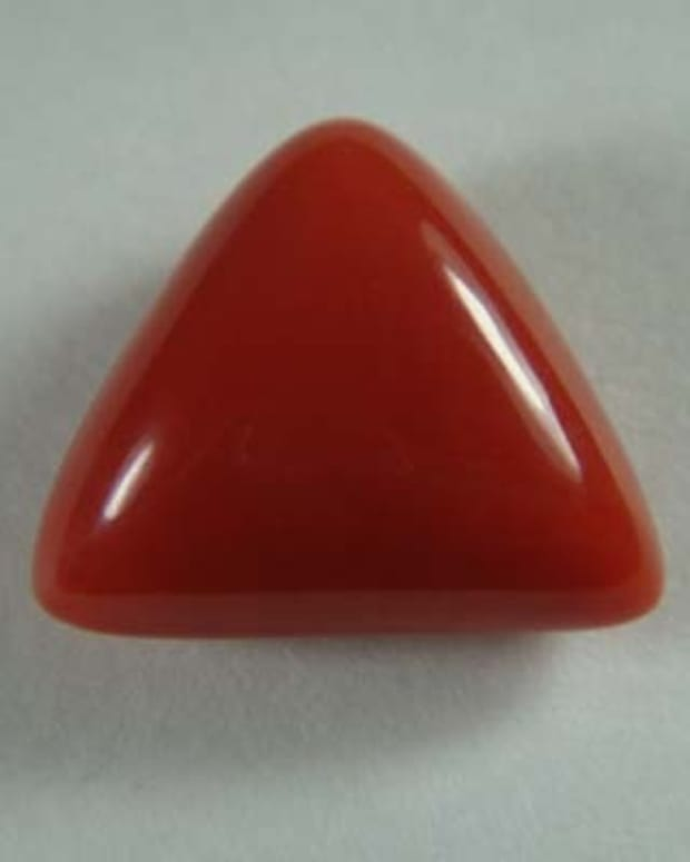 Italian Red Coral Triangle Shapped 11.37 Carats