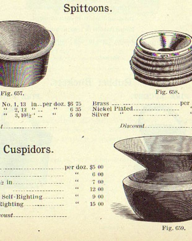 Today, the terms spittoon and cuspidor are largely interchangeable, spittoon being the more usual. In this 1893 Handlan Company catalog, cuspidor referred to the model having a bowl-shaped base, a pinched neck, and a funnel-shaped opening.