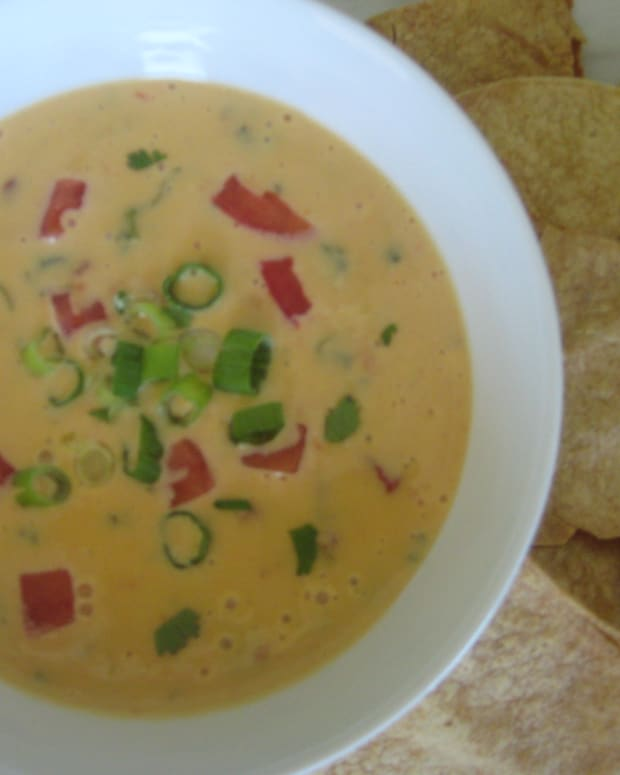 This queso dip is easy to make in the microwave.