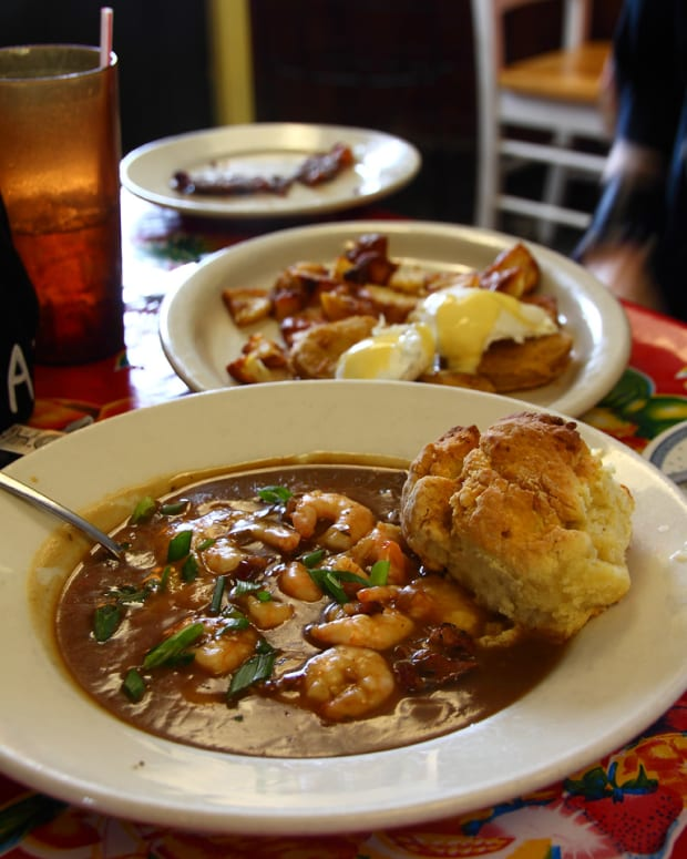 Biscuits alongside shrimp and grits. Photo courtesy PDphoto.org under a public domain license.