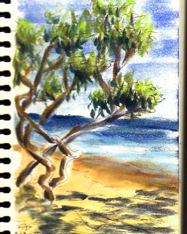"Jamaica Beach Scene sketch by Robert A. Sloan, 5"" x 7"" in ball point pen and Pan Pastels on Pentalic Nature Sketch paper. Photo reference by VladK on WetCanvas.com."