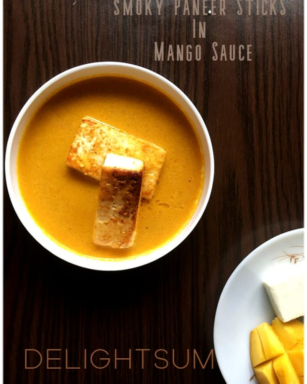 smoky-paneer-in-mango-sauce