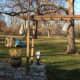 Left side of wooden arbor.