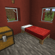 A small house contains only one bed and a decorative block.