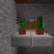 Place slabs under the window to make a windowsill - then, add some plants!