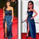 Kim Kardashian wears an extravagant blue gown on the red carpet