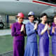Thai Airline Flight Attendants in their 'outside the plane' uniforms
