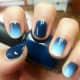 Ombre blue nails.