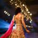 Unique fusion rose-patterned lehenga gown.