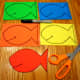 Draw and cut out fish shapes on foam sheets.