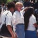 Participating in the Million Mom March in 2000, Tipper Gore has her mom jeans on full display and seems to be getting the respect and admiration from her friend, who stares in sheer wonder.