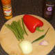 Vegetables and spices for curried fish soup