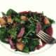 Enjoying kangaroo, peach and pomegranate salad