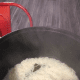 The fragrant coconut rice is cooked. Let the rice stays at warm setting in the rice cooker.