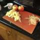 Peel, core, and slice apples.