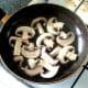 Sauteing sliced mushrooms