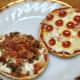 Pepperoni pizza and Hamburger, bacon & onion pizza