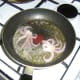 Squid tentacles are fried in butter