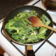 Savoy cabbage is sauteed with garlic