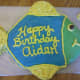 Our finished fish shaped cake!