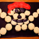 Our finished skull and crossbones cupcake design.
