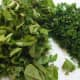 Chopped basil and majoram, and finely minced parsley and rosemary.