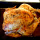 Our roast chicken straight out of the oven.