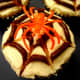 Our finished spider web cupcakes.
