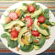 Spinach Salad: Baby spinach, avocado slices, fresh orange bits, almonds, feta cheese and sliced strawberries.