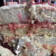 Cake insides.  Red sprinkles make a pretty swirl surprise when you slice the cake.