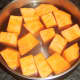 Sweet potato chopped and ready for boiling
