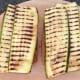 Zucchini strips are laid on bruschetta