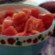 Here's what 2 lbs. of tomatoes looks like cored, peeled and chopped.