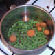 Simmering carrot and peas