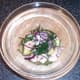 Samphire, king prawn and pineapple salad is ready for plating