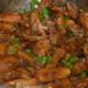 Baby corn Manchurian in the kadhai