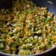 Stir-fry the vegetables.