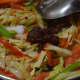 Step five: Add Szechuan sauce and salt.