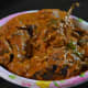 The completed spicy stuffed brinjal eggplant curry or badanekai ennegai.