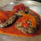 Roast peppers on top of the hamburgs.