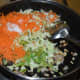 Step three: Add chopped vegetables as per instructions. Add salt. Stir-cook on a high heat for 4-5 minutes.